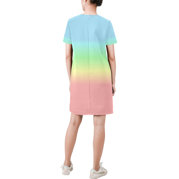 Pastel Rainbow Ombre Dress, Colorful Pink Blue Gradient Tie Dye Short-Sleeve Summer Round Neck A-Line Dress - Starcove Design
