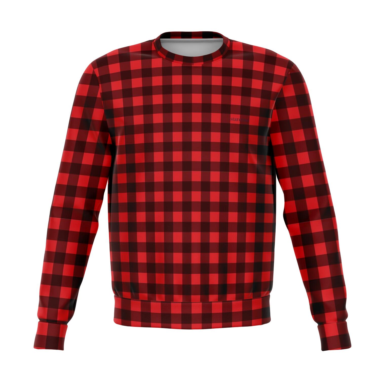 Red Buffalo Plaid Sweatshirt, Christmas Holiday Sweater Black and Red Check Checkered Plaid Cotton Crewneck Winter Top - Starcove Design