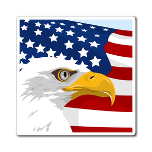 American Eagle Magnet, USA Flag Patriotic Bald Eagle Square Fridge Refrigerator Car Locker Cute Inspirational Quote Kitchen Magnet - Starcove Design