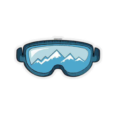 Snow Ski Goggles Mountain Stickers, Skiing Mask Blue Laptop Vinyl Cute Tumbler Car Bumper Aesthetic Label Wall Mural Decal Die Cut - Starcove Design