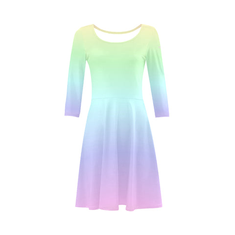 Rainbow pastel Ombre 3 4 sleeve Summer Sundress, Colorful Pink Purple Tie Dye Gradient Beach Party Three Quarter Dress