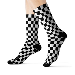 Black White Checkered Socks, 3D Printed Sublimation Check Pattern Racing Flag Women Men Fun Cool Funky Casual Cute Unique Socks - Starcove Design