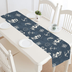 Nautical Navy Blue Table Runner, Ocean Sea Anchor Coastal Beach Home Decor Theme