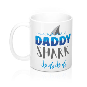 Daddy Shark Mug, Funny Gift For Dad Coffee Mug Cup Tea Lover Unique Novelty Cool New Gift Ceramic 11oz Baby Shark