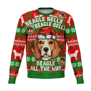 Beagle Ugly Christmas Sweater, Dog Beagle Bells All the Way Funny Print Party Sweatshirt Holiday Men Women Christmas Gift Plus Size - Starcove Design