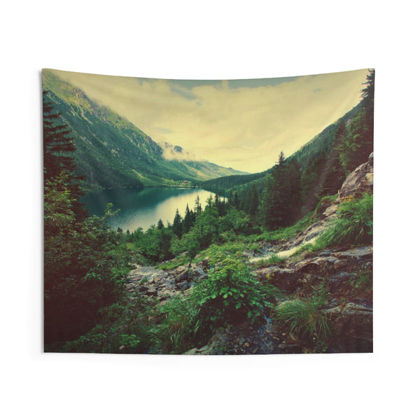 Mountain Lake Tapestry, Scenic Green Wilderness Nature Landscape Indoor Wall Art Hanging Tapestries Decor - Starcove Design