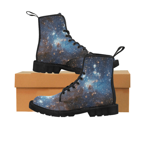 Galaxy boots Women's Vegan Canvas Lace Up Shoes, Blue Universe Space Constellation Festival Print Black Ankle Combat, Casual Custom Gift - Starcove Design