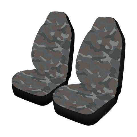 Camo Car Seat Cover, Dark Grey Camouflage Front Seat Covers (Set of 2), Dog Seat Protectors Accessory