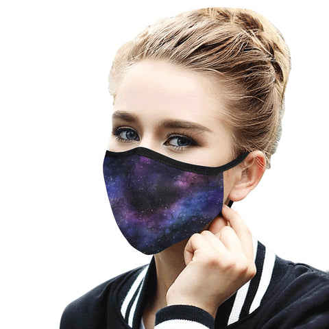 Galaxy Face Mask With Filter, Space Stars Fabric Dust Cloth Mouth Cover Fashion Washable Reusable Adult Men Women Kids Rave Mask - Starcove Design
