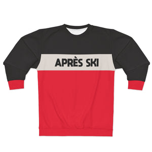Apres Ski SWEATSHIRT, Black Beige Red Color Block Skiing Skier Snow, 80s 90s Vintage Retro Mountain Cotton Women Men Sweater - Starcove Design