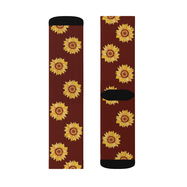Sunflower Socks, 3D Printed Sublimation, Yellow Flower Floral Women Men Funny Fun Novelty Cool Funky Crazy Casual Cute Unique Socks - Starcove Design