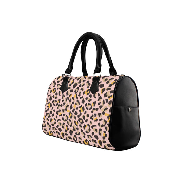 Pink Leopard Print Purse Handbag, Animal Cheetah, Canvas and Leather Barrel Type Designer Accessory Bag Gift - Starcove Design