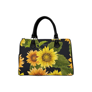 Sunflower Purse, Flower Art Print Handbag, Canvas and Leather Barrel Type Boho Designer Accessory Gift