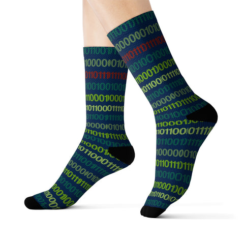 Coding Socks, Computer Binary Science Math 3D Sublimation Cool Cute Crazy fun Socks, Blue Striped Funny Men Women Green Crew Socks - Starcove Design