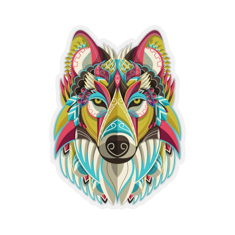 Wolf Head Sticker, Ornate Tribal Lone Animal Laptop Decal Vinyl Cute Waterbottle Tumbler Car Waterproof Bumper Aesthetic Die Cut Wall Mural