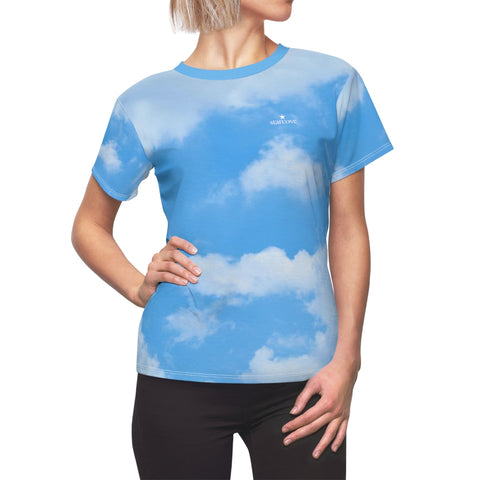 Blue Cloud Womens Shirt, Prince Vaporwave Aesthetic, Blue Sky, Pastel Kawaii Clothing Harajuku Retro 80s Rave Festival Tshirt - Starcove Design
