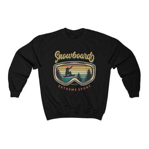 Snowboard Retro Goggles Sweatshirt, Vintage Men Women Extreme Sports Mountain Gift Boarding Crewneck Sweater Top - Starcove Design