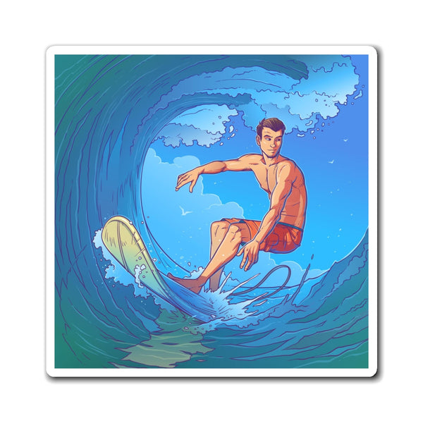 Surf Magnet, Surfing Beach Sea Wave Man Surfboard Watercolor Ride Fridge Locker Refrigerator Car Magnets - Starcove Design