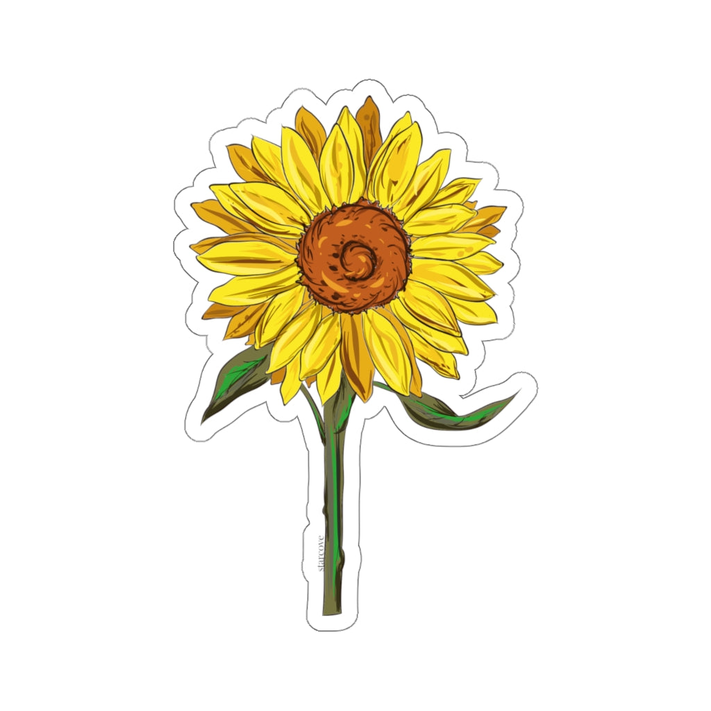 Sunflower With Stem Decal Yellow Flower Floral Laptop Decal Vinyl Cut Starcove Fashion