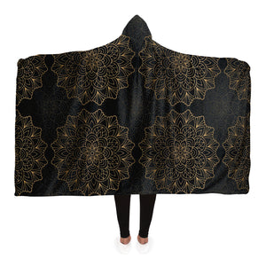 Mandala Hooded Blanket, Black Boho Bohemian Sherpa Microfleece Fleece Adult Kids Youth Men Woman Wearable Cloak Winter Gift