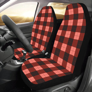 Buffalo Plaid Car Seat Covers 2 pc, Living Coral Red Check Lumberjack Front Seat Covers, Car SUV Seat Protector Accessory - Starcove Design
