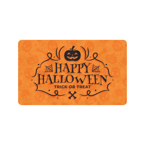 Happy Halloween Rubber Doormat, Orange Trick or Treat Pumpkin Fall Funny Front Door Welcome Mat Indoor Outdoor Rug Decor Made in USA