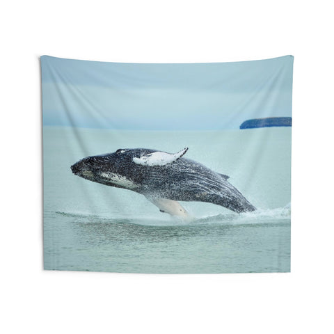 Humpback Whale Jump Tapestry, Ocean Sea Nautical Landscape Indoor Wall Art Hanging Tapestries Décor Home Dorm Gift - Starcove Design