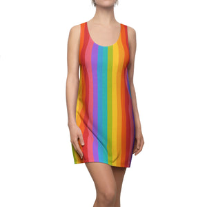 Rainbow Dress Women, Vintage Rainbow Pride Clothes, Tropical Colorful Striped Racerback Dress
