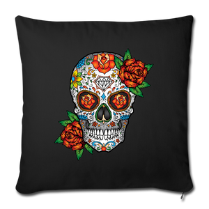 "Sugar Skull Decor, Retro Colorful Floral Mexican Day of the Dead Halloween Throw Pillow Cotton Cushion Cover 18"" x 18"" - Starcove Design"