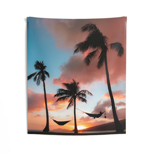Palm tree Hawaii Tapestry, Sunset Island Hammock Vertical  Indoor Wall Art Hanging Large Small Decor Home Dorm Room Gift