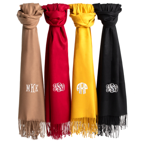 Monogram Pashmina Scarf, Monogrammed Personalized Embroidered Custom Gift Black Maroon Tan Mustard - Starcove Design
