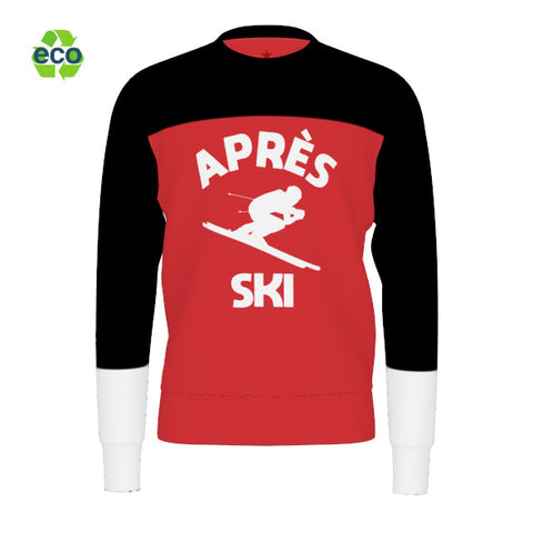 Apres Ski Men Sweater, Black Red White Sweatshirt, Alpine Skier Skiing Downhill Winter Sports Vintage Color Block Eco Friendly - Starcove Design