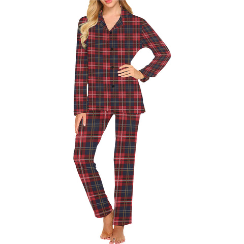 Red Buffalo Plaid Women Pajama Set, Blue Check 2 Piece Pants Top PJ Winter Christmas Holiday Plaid Xmas Check Cozy Sleep Sleepwear Gift