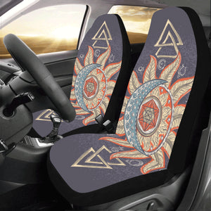 Moon Stars Car Seat Covers 2 pc Retro Sun Sky Bohemian Boho Front Seat Covers for Vehicle, Car SUV Truck Seat Protector Accessory Decoration