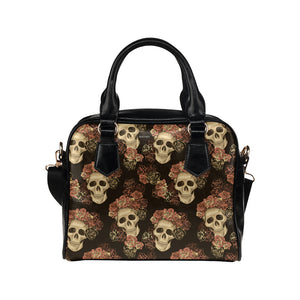 Sugar Skull Roses Purse, Cute Small Goth Shoulder High Grade PU Leather Women Designer Handbag - Starcove Design