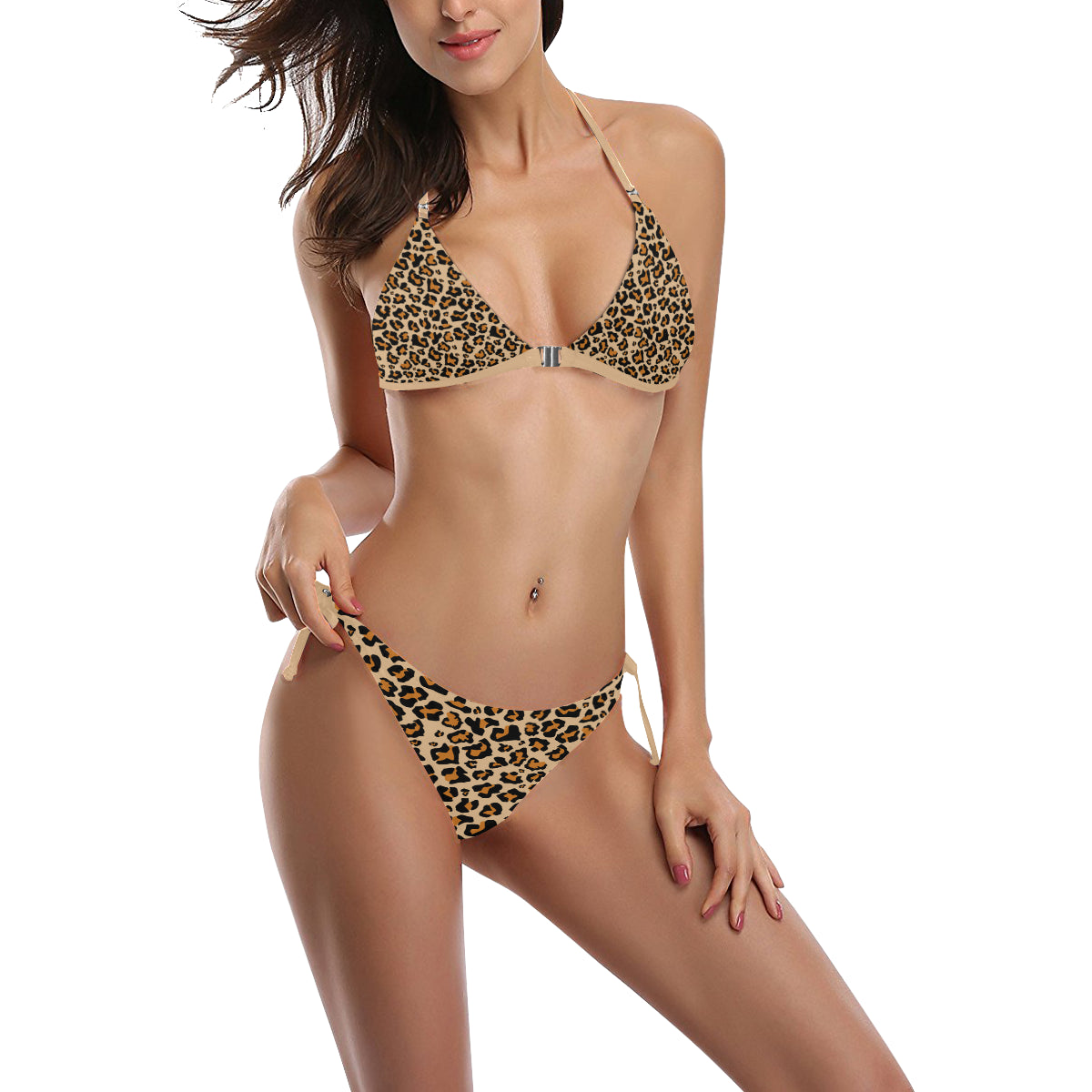 Cheetah Print Bikini Set, Sexy Leopard Animal, Halter Cheeky High Waist Cut Bikini Swimsuit with Front Buckle, Bathing Suit Swimwear - Starcove Design