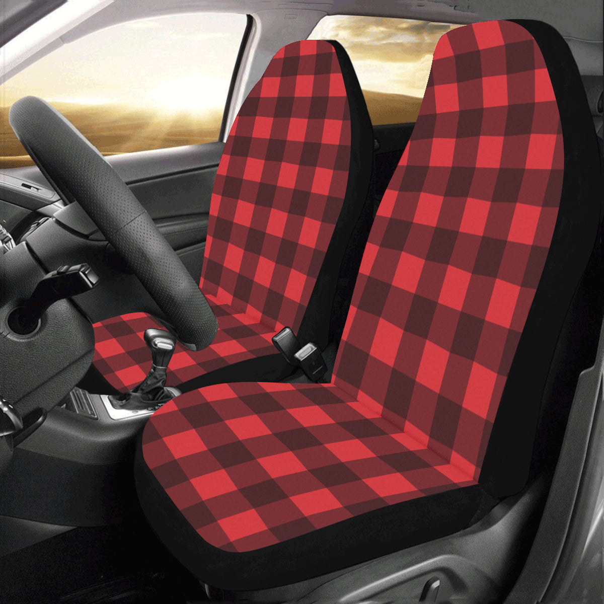 Buffalo Plaid Car Seat Covers 2 pc, Black and Red Check Lumberjack Front Seat Covers, Car SUV Seat Protector Accessory - Starcove Design