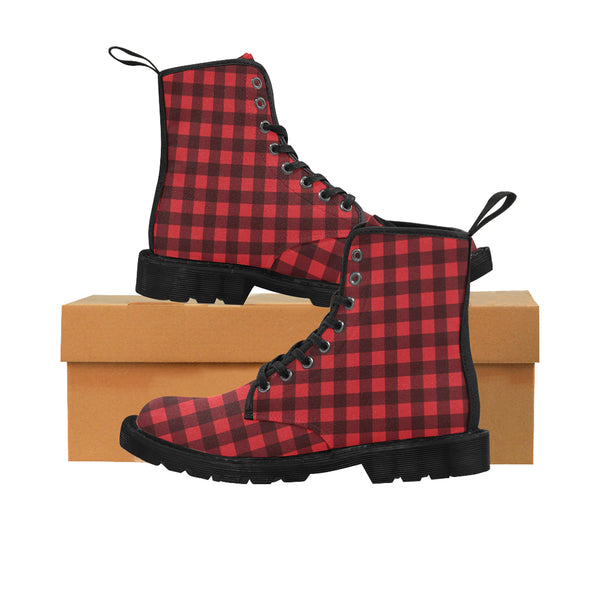 Red Buffalo Plaid Women's Boots, Black Check Lumberjack Vegan Canvas Lace Up Shoes, Black Print Army Ankle Combat, Winter Casual Custom Gift - Starcove Design