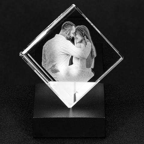 Crystal Photo Cube 3D Laser Engraving, Personalized Glass Etched Picture Hologram Print Gift, Mom Dad Grandpa Pet Dog Baby Wedding Memories - Starcove Design