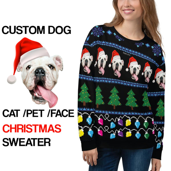 Ugly Christmas Sweater, Custom Dog Faces Cat Sweatshirt, Funny Selfie Boyfriend Girlfriend Photo Gift Party Xmas Family Women Men Holiday Sweatshirt - Starcove Design