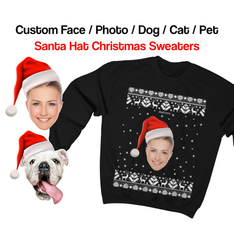 Custom Face Christmas Sweater, Funny Xmas Ugly Sweatshirt Personalized Holiday Custom Photo Dog Cat Boss Pet Matching Family Santa Hat Gift - Starcove Design