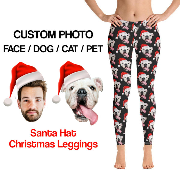 Custom Dog Face Leggings, Personalized Photo Cat Pet Women Yoga Pants Gift For Her Funny Selfie Fitness Gym Birthday Party Ugly Christmas - Starcove Design
