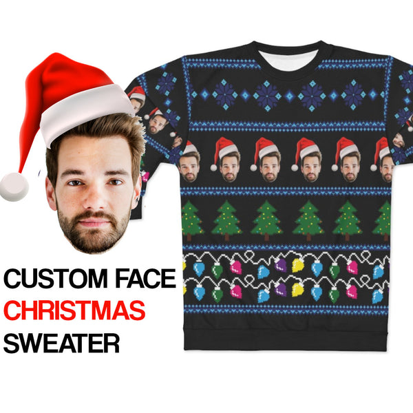Ugly Christmas Sweater, Custom Faces Sweatshirt, Funny Selfie Boyfriend Girlfriend Photo Gift Party Xmas Family Women Men Holiday Sweatshirt - Starcove Design