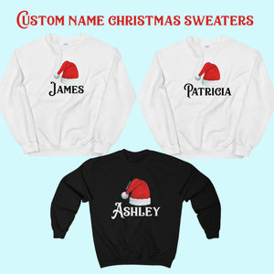 Custom Name Santa Hat Crewneck Sweatshirt, Christmas Sweater Holiday Xmas - Starcove Design