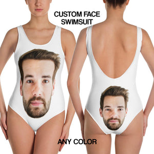 Custom Face One-Piece Swimsuit, Selfie Print Bachelorette Bridal Party Personalized Bathing Suit Swimwear Anniversary Gift Idea Her - Starcove Design