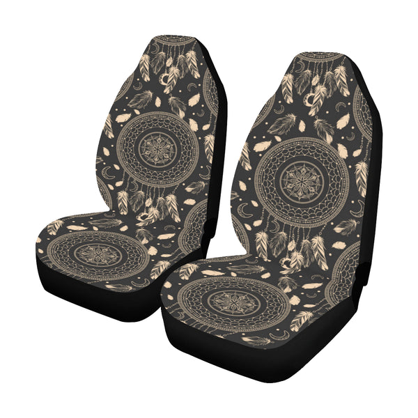 Dream Catcher Mandala Boho Car Seat Covers 2 pc, Tribal Pattern Bohemian Black Art Front Seat Covers, Car SUV Protector Accessory Decor