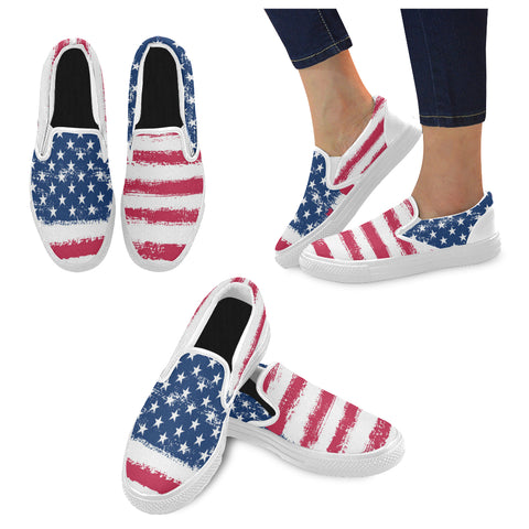 Matching Mismatched Shoes, American Flag, Stars and Stripes, Red Blue and white USA, Patriotic Slip on Women Canvas Shoes, Vegan shoes - Starcove Fashion