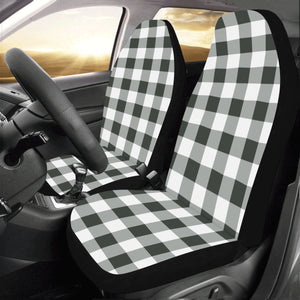 buffalo plaid black and white Car Seat Covers (Set of 2) - Starcove Design