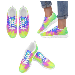 Tie dye Sneakers Shoes, Spiral Colorful Rainbow Art Hippie Blue Women's Breathable Running Sneakers - Starcove Design