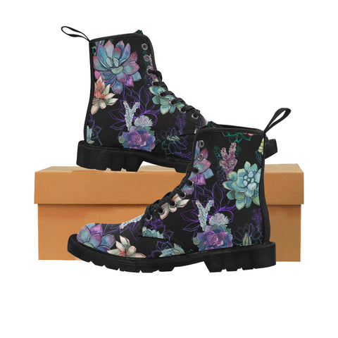Succulents Women's Boots, Cactus Vegan Canvas Lace Up Shoes, Plants Cactus Print Black Purple Ankle Combat, Casual Custom Gift - Starcove Design